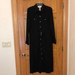 Evan-Picone black snap front dress